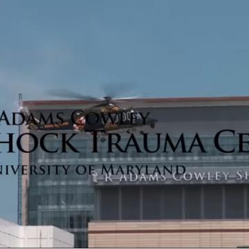 R Adams Cowley Shock Trauma logo on video