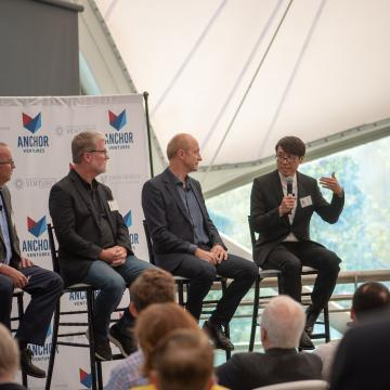Panelist Sammy Hoi, MICA president, talked about fostering enterpreneurship in students working with smart textiles.